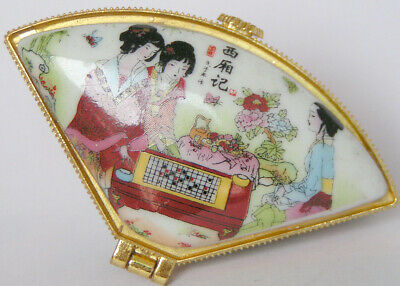 Don't miss this one Porcelain Jewelry box painted Chinese girl paying checkers
