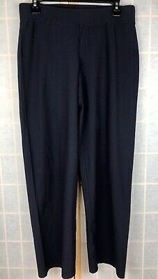 Eileen Fisher Crepe Navy Blue Pull On Pants Comfortable Stretch Small USA Made