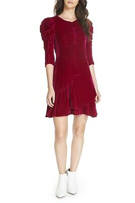 REBECCA TAYLOR Cranberry Pink Ruched Velvet Smocked Ruffle Victorian Dress 10