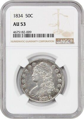 1834 50c NGC AU53 (Large Date, Large Letter) Nice Type Coin - Bust Half Dollar