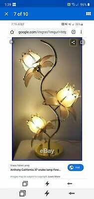 "Anthony California 37"" brass snake lamp, frosted glass lotus blossoms"