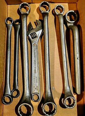 Lot of  7 ..Vintage Blue Point / snap on Box End Wrenches and  adjustable wrench