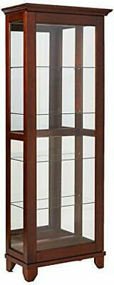5-Shelf Curio Cabinet with Mirrored Back Chesnut Warm Brown