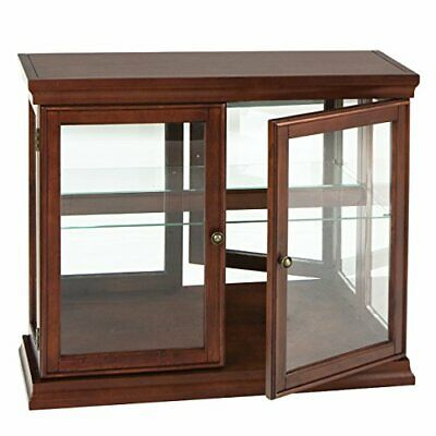 Double Door Curio w/ Mirror Back Wall - 2 Fixed Shelves - Chic Style Mahogany