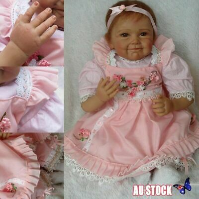 "22"" Full Body Waterproof Silicone Vinyl Reborn Baby Doll Newborn Lifelike Girl"