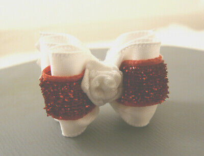 "Bwb 7/8"" Dog Top Knot Bow With White & Red Ribbon For Maltese Yorkie Shih-Tzu"