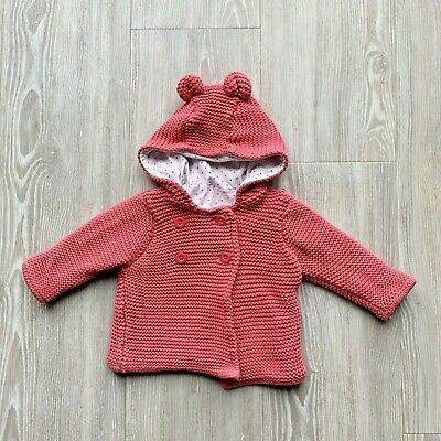 Baby Girls M&S Pink Knitted Cardigan 100% Cotton 0-3 Months