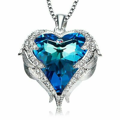 Blue Love Heart Pendant Necklaces - Women Lady Valentine's Day Christmas Gift