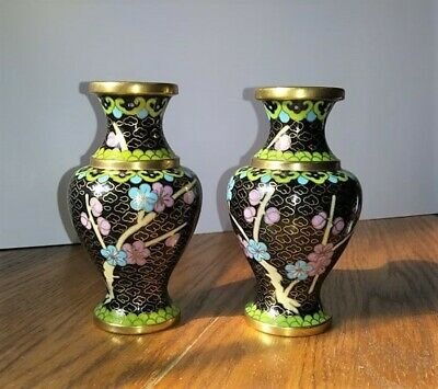 Antique Cloisonne Brass Vases Pair W/ Chinese Price Tag Beautiful Colors