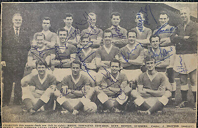 Multi Signed 1950s Charlton Athletic FC X13 Football Autograph 1960s Players