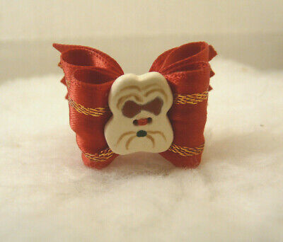 """Bwb 1"""" Dog Top Knot Bow W/Red Satin Ribbon & Shih-Tzu Button Especially For Shih"""
