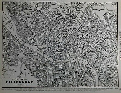 Vintage 1940 World War WWII Atlas City Map Pittsburgh PA Penn Pennsylvania L@@K!
