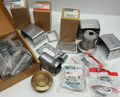 Big Gaylord full of NOS WalkerDuct Legrand receptacles, parts and fittings