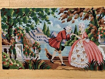 "Finished Tapestry Cross Stitch Marie Antoinette (?) Vintage, Needlepoint 28""x16"""