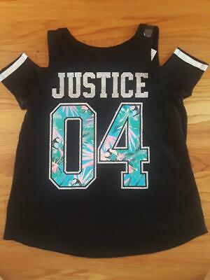 "Justice Girls' Black Cold Shoulder Shirt, Size 14/16 - Sparkly ""JUSTICE"" Graphic"