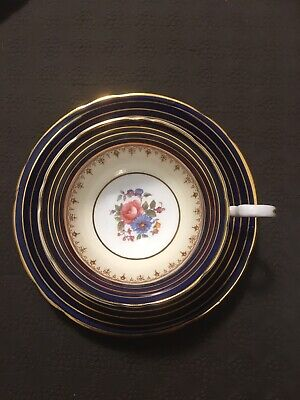 Aynsley Cobalt Teacup and Saucer Cabbage Rose Floral Blue and Bone Gold China