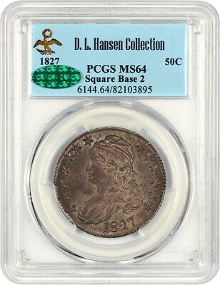 1827 50c PCGS/CAC MS64 (Square Base 2) ex: D.L. Hansen - Type Coin - Type Coin