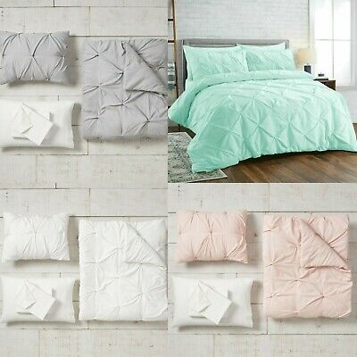 Luxury New Pintuck Bedding Duvet Cover Set 100% Egyptian Cotton Quilt All Sizes
