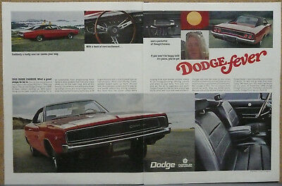 1968 Dodge Charger Poster Size Print Ad (Red)