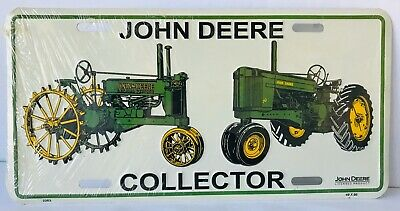 John Deere Collector License Plate with 2 Tractor Models Licensed Product New