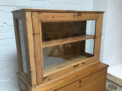 Old Antique Large Glass Display Cabinet Counter Top Apothecary Shop Cabinet
