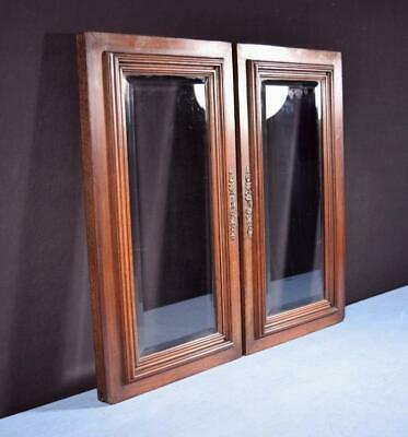 *Pair of French Antique Walnut/Oak Wood & Beveled Glass Panels/Cabinet Doors