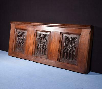 *Antique French Gothic Panel in Solid Oak Wood Salvage Hand Carved