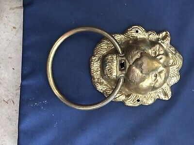 Vintage Brass Lion Head Gold Door Knocker