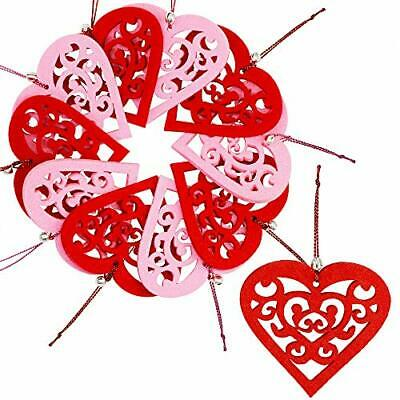 10 Set Valentine's Day Hanging Felt Heart Ornaments Red and Pink Heart Shaped