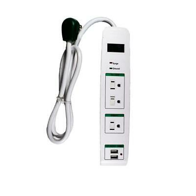 Go Green 3 Outlets Surge Protector w/ 2 USB Ports