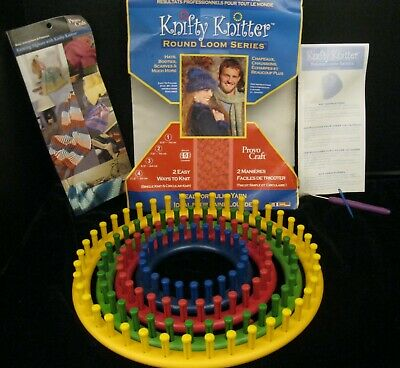 Knifty Knitter Round Loom Series 4 Looms With Needle & Hook Plus Instructions