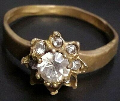 Rare Ancient Bronze Viking Wedding Engagement Ring Unique Stone Lake Ladoga
