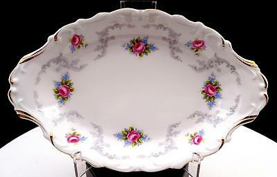"""Royal Albert Tranquillity Pink Roses Gray Scrolls And Blue Flowers 8 1/4"""" Tray"""