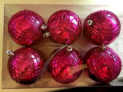 6 Hot Pink 3 Inch ball Shatter Resistant Christmas Ornament Holiday Decoration