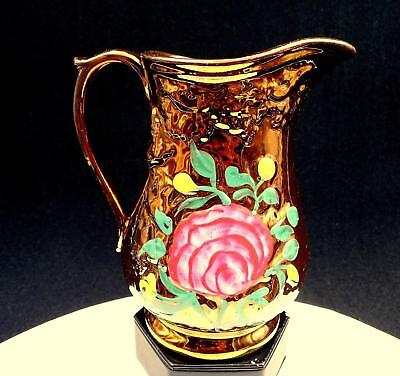 """English Copper Lustreware Hand Painted Floral Leaf Relief 6 1/2"""" Pitcher"""