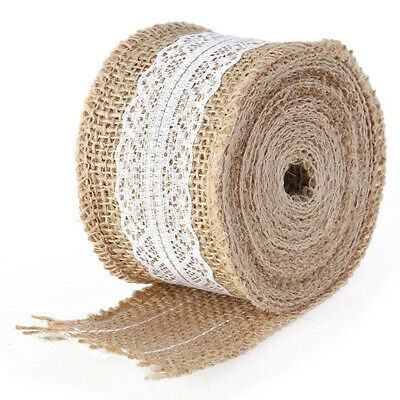 5M natural Hessian sackcloth with Lace Ribbon 5CM wide brown R7O2