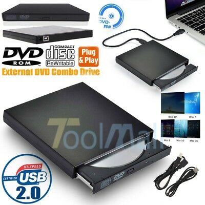 Slim Portable USB 2.0 Ultra External DVD-RW CD-RW Burner Writer Drive For PC MAC