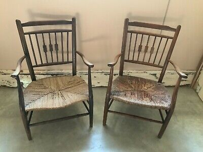 A beautiful pair of rush seat arts & crafts chairs in lovely condition .