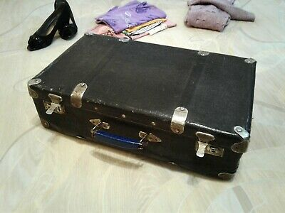 Antique Vintage Suitcase Old Black Faux Leather Luggage Trunk Valise Bag 1920s