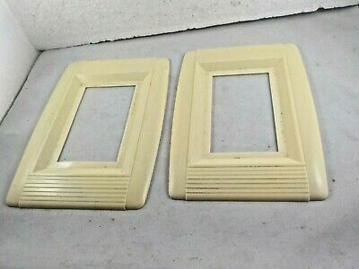 lot set of 2 electrical plate covers deco style plastic ivory color 0459 vintage