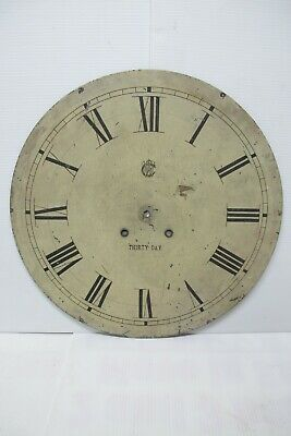 """Antique 30 Day Waterbury Paint Clock Dial~Galley/Wall~Zinc~18-5/16""""(1880-1900)"""