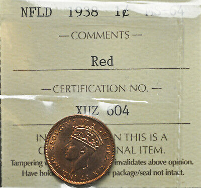 1938 Newfoundland One Cent ICCS graded MS-64