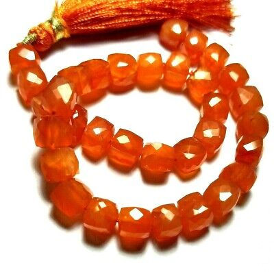 """Carnelian Square Box Beads 8.25"""" Apx 78 Carat Faceted Handmade Natural Gemstone"""