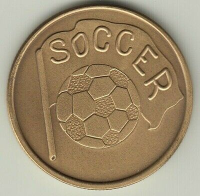 Soccer ball and flag antique bronze coin card guard