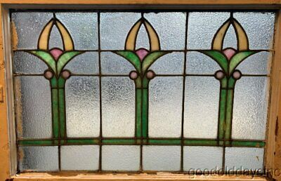"""Antique Stained Leaded Glass Transom Window Circa 1910 32"""" x 23"""""""