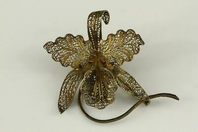 Estate Jewelry 800 Sterling Silver Portugal Gold Wash Filigree ORCHID Flower Pin