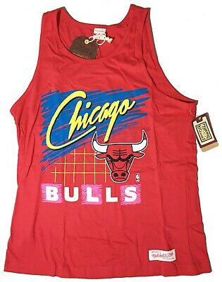 Mitchell & Ness Mens Red Chicago Bulls Tank Top Sleeveless Muscle T-Shirt NBA NW