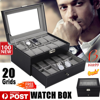 Leather Watch Jewelry Display 20 Grids Storage Holder Organizer Showcase Box bK