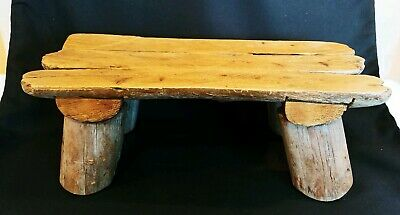 Antique Vintage Handmade Driftwood Wood Child Stool - Bench - Chair Rustic