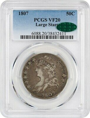 1807 50c PCGS/CAC VF20 (Capped Bust, Large Stars) Early Bust Half